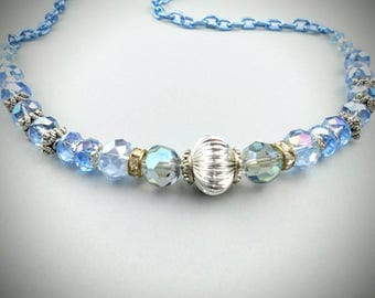 Blue and silver necklace, light blue necklace, beaded necklace, pretty necklace for her, sister, wife, daughter, mother, grandmother