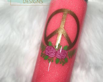 Peace Sign Glitter Dipped Stainless Steel Tumbler Cup