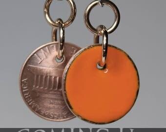 enameled penny earrings-pumpkin orange