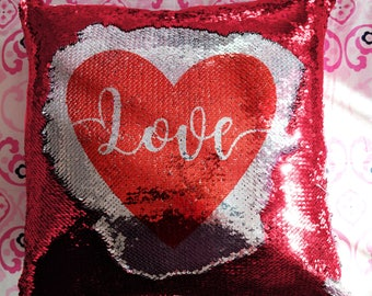 Valentine's Day Pillow, Custom Sequin Pillow, Personalized Mermaid Pillow, Mermaid Pillow, Hidden Message Pillow, Custom Pillow with Insert