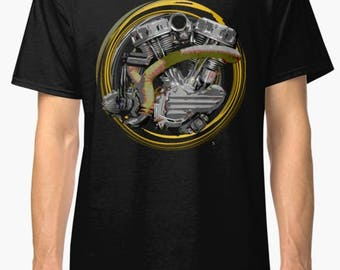 Iron Pit Panhead Retro engine Vintage Motorcycle T-Shirt INISHED Productions