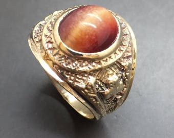 9ct Yellow Solid Gold Tiger's Eye Ring