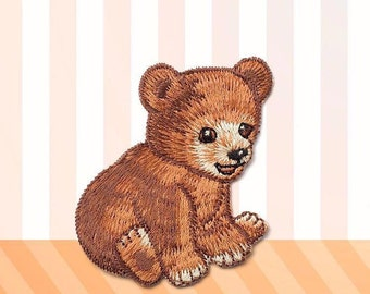 Little bear patch, Iron on patch,Sew on patch,Cute bear applique,Brown bear patch,Embroidered patch,Patches for hats/jackets/jeans