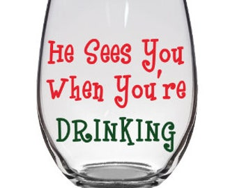Christmas Wine Glass | Funny Wine Glass | Christmas Gift | Funny | Stemless Wine Glass
