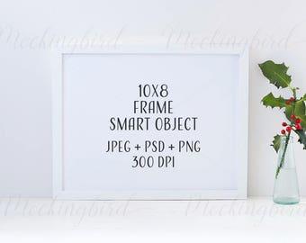 Mockup frame Christmas - natural mistletoe 8 x 10 landscape High Res JPEG + PNG + PSD smart object mock up | Styled Stock Photo horizontal