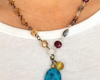 Beaded Necklace, Asymmetrical Boho Necklace, Gemstone Jewelry, Bohemian Necklace, Mothers Day Gift, Pendant Necklace, For Her, OOAK