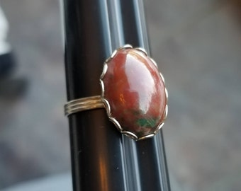 Vintage Red Cabochon with a hint of green adjustable ring