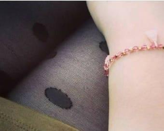raw brass, crystal and tassel bracelet