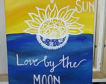 Boho Sun and Moon Painting