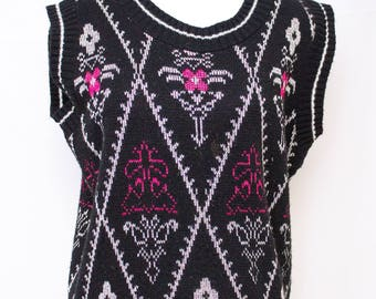 Amazing Black, Pink and Silver  lurex Vintage Sweater Vest.