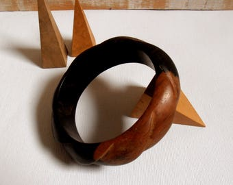 thick twisted vintage wooden bracelet