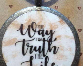 The Way, The Truth, the Life - Handmade Christian Inspirational Necklace - FREE SHIPPING
