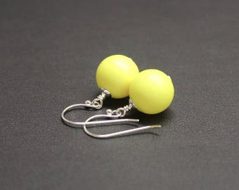 Bright Yellow Drop Earrings, Sterling Silver Earrings, Crystal Pearl Earrings, Neon Earrings, Drop Earrings, Fluro Jewelry