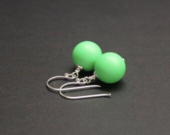 Bright Green Drop Earrings, Sterling Silver Earrings, Crystal Pearl Earrings, Neon Earrings, Drop Earrings, Fluro Jewelry