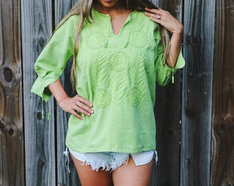Embroidered Beachy Lime Green Tunic -Vintage_