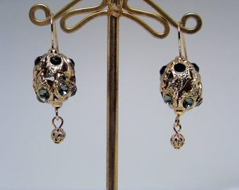 "Retro style earrings, ""Demirouge"" French alloy pendants, bright Swarovski/Riprouzioni vintage/without nickel/gift/Italy"