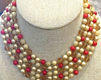 Hattie Carnegie necklace, red bead and pearl necklace, faux pearl jewelry, vintage beads, red jewelry, choker necklace, red vintage necklace
