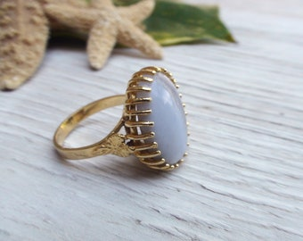 Agata Ring Gold Oval Stone Natural Jewelry Boho Ring