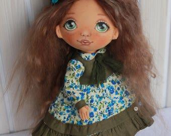 Fabric Doll craft textile doll vintage stuffed doll tilda doll art doll in cloth birthday gift doll decor doll interior doll gift rag
