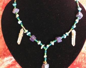 Raw gemstone lapis Lazuli beaded Quartz crystal necklace Handmade