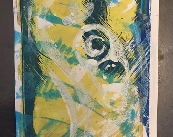 Gelli Plate Mini Green and Blue Abstract Monoprint