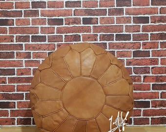 Pair (x2) Moroccan Leather Ottoman Pouffes Poufs Handmade Ottoman Footstool, Brown Pouf Ottoman
