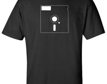 "5.25"" Floppy Disc PC Nerd Retro Logo Graphic T Shirt"