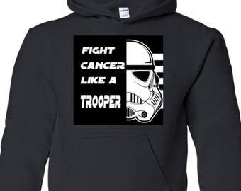 Fight Cancer Trooper Kids Hooded Sweatshirt Custom Made Exclusive Design