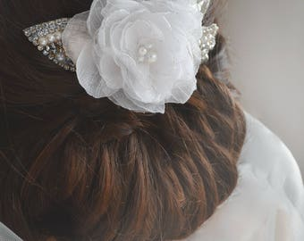 GLOW Floral Hairpiece, Hair Comb, Wedding Headpiece, Wedding Leaves Hair Accessories