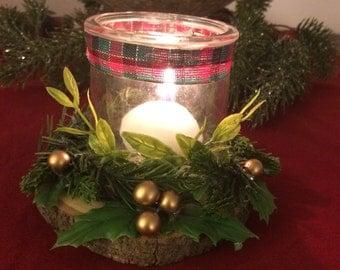 Christmas votive candle holder, Christmas decorations, holiday decorations, glass candle holder, rustic Christmas decorations