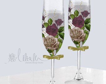 Magenta Rose hand printed 8 oz Champagne glass flute set of two for Bride and Groom or bridesmaids - Free Initial or name personalization