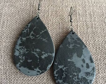 Black Splatter Genuine Leather Teardrop Earrings