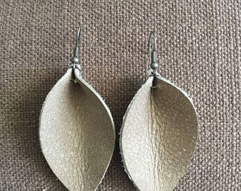 Distressed Gray Genuine Leather Earrings (Inspired by Joanna Gaines of Fixer Upper)