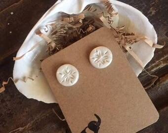 Hand-Sculpted Sand Dollar Earrings