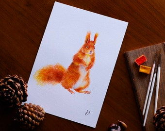 Squirrel Gift Squirrel Watercolor Forest Animal Wall Art Squirrel Painting Nursery Art Nature Lover Gift Woodland Home Decor Gift For Her