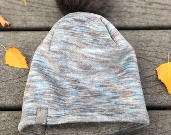 Winter Fleece Baby Hat/Beanie. Pom Pom Hat. Winter Adult hat. Little Dove Wings.