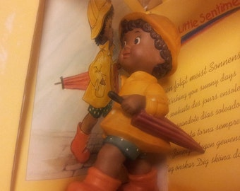 "Goebel Little Sentiments Rare ""Boy with Umbrella"" Figurine by Charlot Byj NIB"