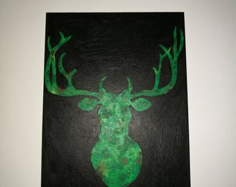 Beautiful picture of a deer-green, forest colors, forest, painting, antlers, painting, deer