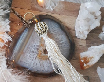 Long Boho Tassel Necklace/ Fringe Accessories/ Bohemian Festival Fashion