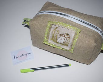 Hessian Rabbit - Polka Dot Lined - Zipper - Box Pouch - Cosmetic Bag - Travel Accessory - Easter Gift - Spring Present - Valentine's Gift