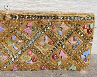 Small sequined and beaded coin purse