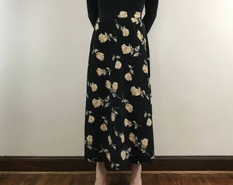 Women's Vintage 1990s, High Waisted, Black Floral Print, Size Small, Long Skirt