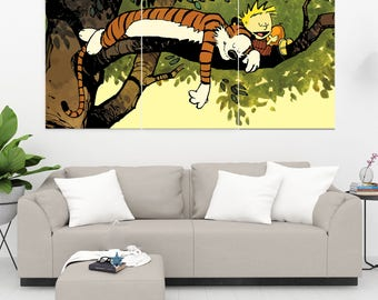 Calvin And Hobbes 3 Panel / 3 Piece Canvas Set, Calvin & Hobbes Wall Art, Calvin And Hobbes Poster Decal Artwork Wall Decor Painting Mural