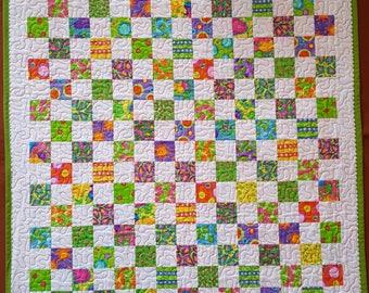 Bright Postage Stamp Quilt