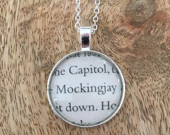 Hunger Games 'Mockingjay' book page pendant