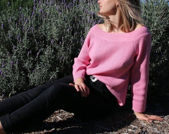Off The Shoulder Baby Pink Ribbed Sweater
