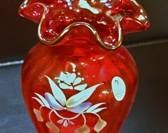 Cranberry Vase by Fenton Glass   3249 RG   signed by artist