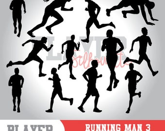 Running Men SVG, Running Sport svg, Runner digital clipart, athlete silhouette, Running Men, cut file, design, A-048