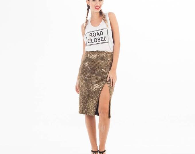 Gold Skirt - Gold Long Skirt - Sequin Skirt - Sparkling Skirt - Sexy Sequin Skirt - Skirt for Party - Gold Sequin - Gold Clothing