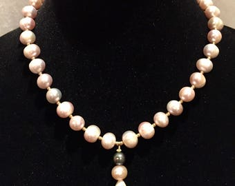Natural 12MM Pink, 8MM Tahitian Black & White Pearl Necklace - 14K Gold Filled